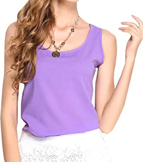 desolateness Women Casual Sleeveless Solid Color Round Neck Shirts Basic Camisole Crop Tank Tops