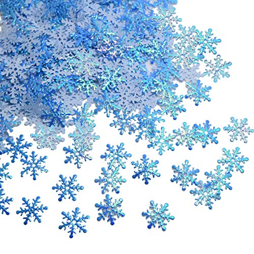 Snowflakes Confetti for Winter Wonderland Frozen Party,Blue Color with Iridescent Finish, 600 Pcs