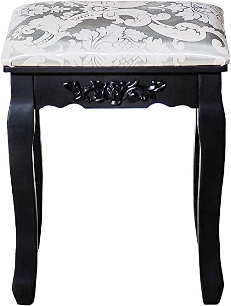 DELMANGO Vanity Cushioned Chair For Dressing Makeup Table Living Room Bedroom Stool Black