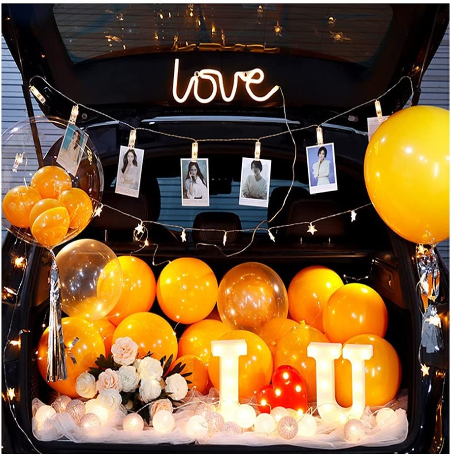 ASKLKD Car Trunk Surprise Marriage Scene Decoration Lights Birth