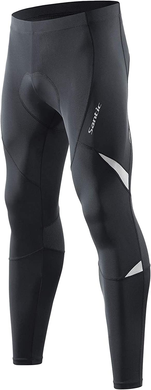 Santic Men's Cycling Bike Pants 4D Padded Compression Long Riding Bicycle Tights : Clothing