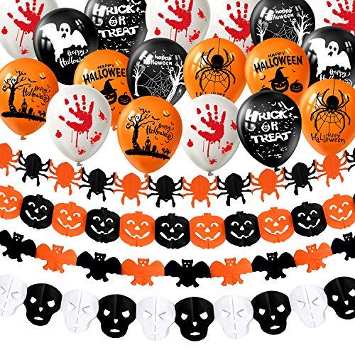 MIAHART Halloween Party Decorations Set 4 PCS Happy Halloween Paper Garland Calabaza Bat Spider Spider Banners con 18 Piezas Globos de Halloween para Happy Halloween Décor