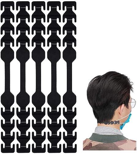 seOSTO Maskenverlängerungsgurt, Maskenhalterung Hinterkopf, Maskenhalter, Maskenband für Mundschutz,Schnallenband für Erwachsene und Kinder (schwarz-5)
