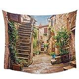 AdoDecor Tapiz de Pared de Calle de Italia callejón de la Ciudad Vieja, Toalla de Playa, Alfombra de Yoga para Picnic, decoración del hogar, 150x180cm