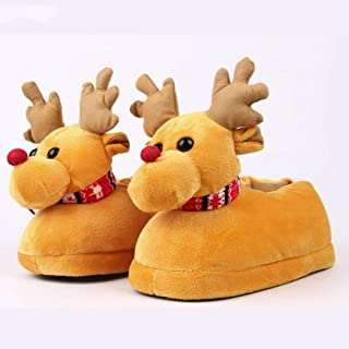Shoes Female Deer Slippers Girls Boys Home Shoes Winter Indoor Warm Plush Cotton Cartoon Christmas Slippers Zhaozb (Color : Yellow, Size : 38)