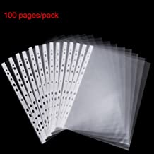 A4 Punched Pocket, 100 Pages/pack Sheet Protector Binder Pocket Paper File Letter Sheet Protector Binder Sleeves, Clear Sheet Protector Transparent Document Pocket Folder Wallets Sleeves(Transparent)
