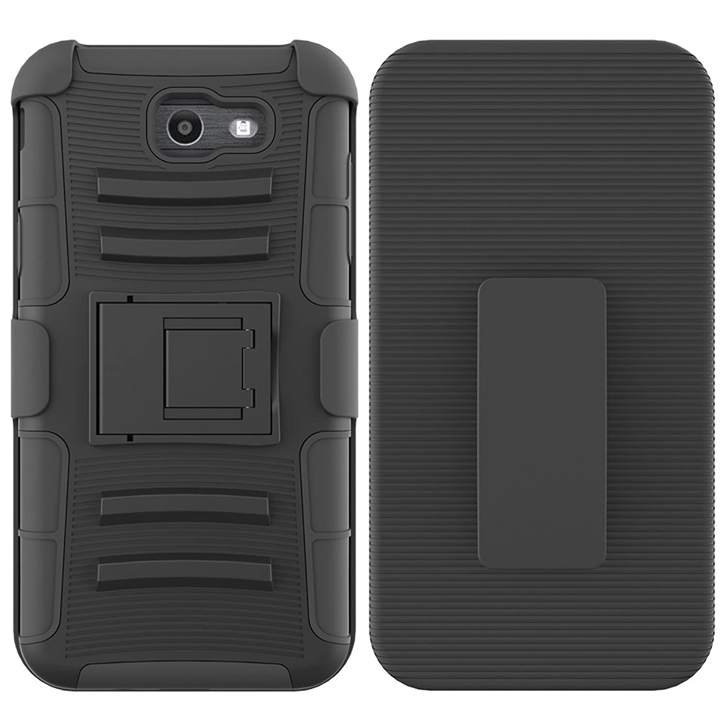 Samsung Galaxy J7 V Case/Galaxy J7 Perx Case/Galaxy J7 Sky Pro/J7 Prime/Galaxy Halo/J7 2017 Case, UZER Shockproof High Impact Resistant Armor Shell Holster Cover with Kickstand and Belt Swivel Clip