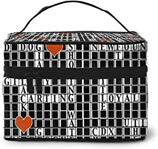 Crossword Puzzle Cosmetic Bag Travel Makeup Bag Case Large Toiletrie Organizer With Mesh Pocket For Women