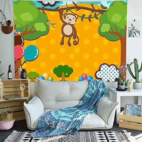 Tapiz de bosque de la selva animales mono dibujos animados niños arte tapices para colgar en la pared para sala de estar decoración del hogar pancarta 150x100CM