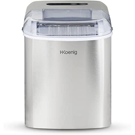 H.Koenig Machine à glaçons 12kg en 24h KB14, 2 tailles de glaçons automatique électrique compact portable sans installation silencieuse 2,1L, cube de glace rapide prêt en 13min, a poser sur comptoir