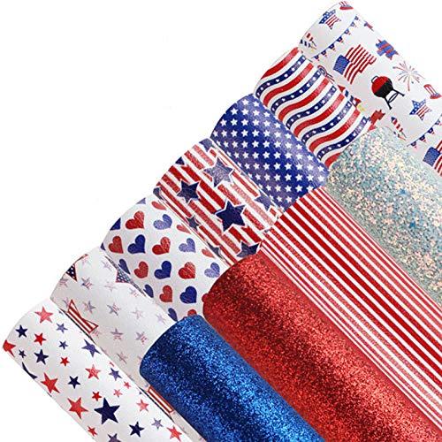 11 x amerikanische Flagge, Unabhängigkeitstag, 20,8 x 30,5 cm, Kunstleder-Blätter für Ohrringe, Schleifen, Leder-Blätter für Schlüsselanhänger, Schmuckherstellung, DIY-Kunstleder-Schleifen, Ohrringe