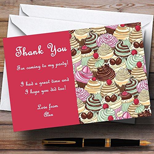 10 x Uitnodigingen Heldere Roze Chocolade Cupcakes Vintage Thee Gepersonaliseerde Party Thank You Kaarten