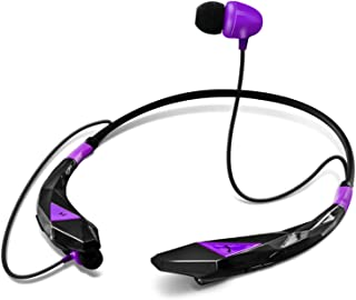 Aduro Amplify Pro SBN45 Wireless Stereo Bluetooth Around The Neck Earbud Headphone Headset (Black/Purple)