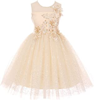 140564b3ac8 Cinderella Couture Little Girls Champagne 3D Metallic Floral Appliques Flower  Girl Dress 2-6