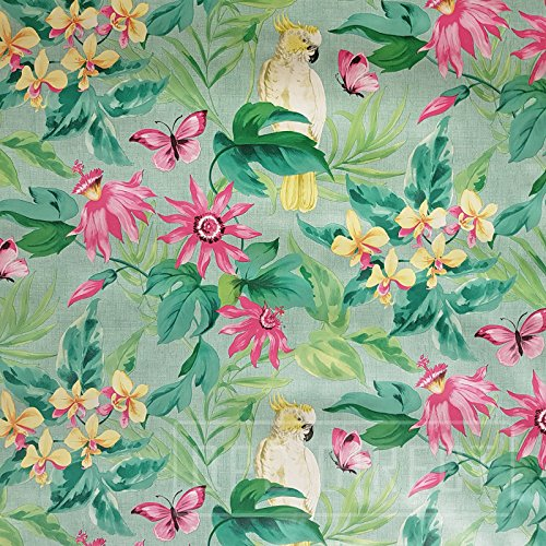 QPC Direct Polly Parrot Tropical Flowers TEAL PVC Oilcloth Table Cover Vinyl Tablecloth (200 x 140cm)
