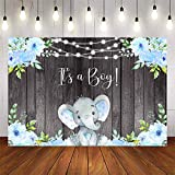 Avezano It's a Boy Elephant Backgdrop Boy Baby Shower Party Banner Decoration Blue Floral Rustic Wood It's Boy Elephant Baby Shower Theme Photography Background Photo Booth Banner (7x5ft)