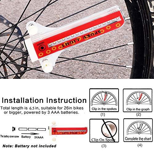 TINANA Bike Wheel Lights, LED Waterproof Bicycle Spoke Light 32-LED 32pcs Changes Patterns Bicycle Rim Tire Lights for Mountain Bike/Road Bikes/BMX Bike/Hybrid Bike/Folding Bike