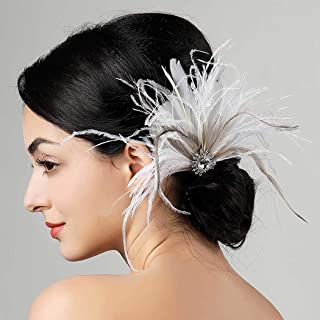 Zoestar Vintage Flapper Headband 1920s Feather Headpiece Gatsby Feather Hair Clip Crystal Hair Accessories for Women