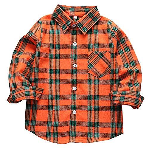 Flannel Shirt for Boys Button Down Shirt Kids Long Sleeve Tops Toddler Buffalo Plaid Shirts Orange Flannel Shirt 6T