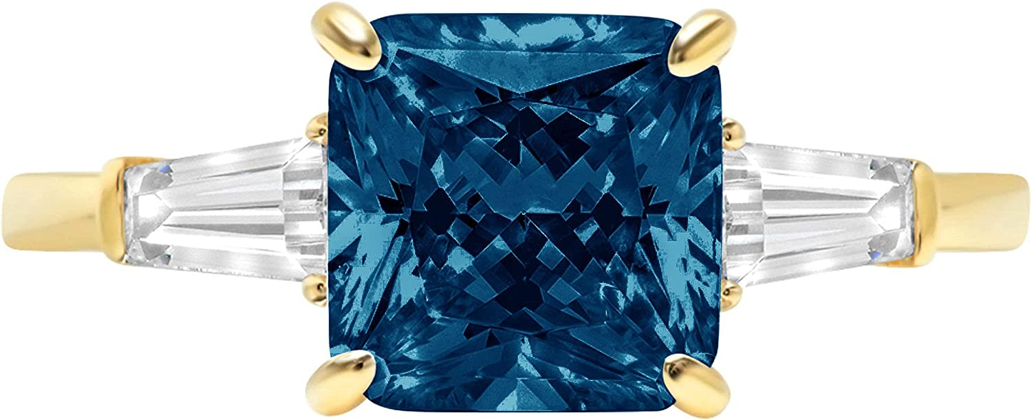 3.50ct Asscher Baguette cut 3 stone Solitaire Accent Genuine Flawless Natural London Blue Topaz Gemstone Engagement Promise Statement Anniversary Bridal Wedding Ring Solid 18K Yellow Gold
