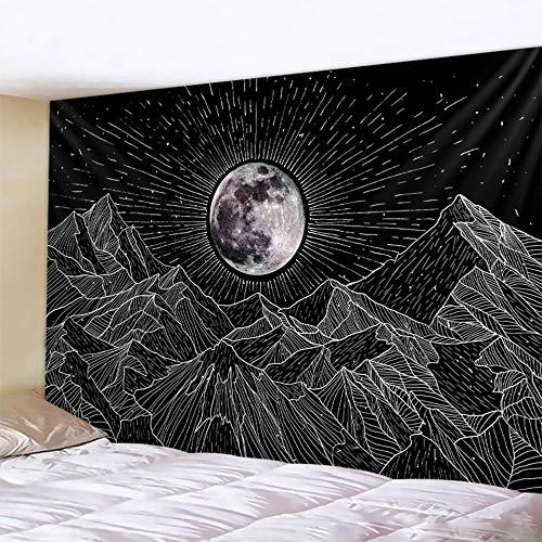 PPOU Tapiz de Mandala de Luna en Blanco y Negro Estilo Bohemio Colgante de Pared Manta de Arte psicodélico Colgante de Pared A24 100x150 cm