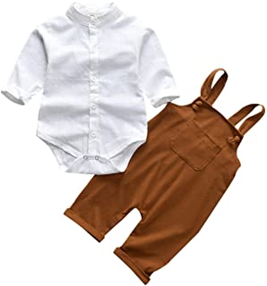 Unutiylo Baby Boys Clothes for Gentleman Outfits,Toddler Overalls Baby Suspender Pants and Bodysuit Romper Set