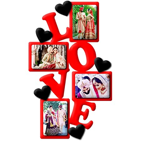 Deep Prints Acrylic 4 Photo Collage Photo Frame - 16 x 10 inch (Red)