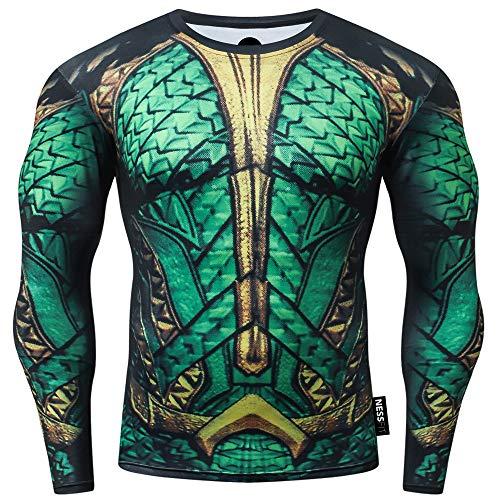 Nessfit Sudadera térmica de manga larga para hombre con capa base de fitness, para gimnasio, correr, superhéroe., Verde Aquaman, M
