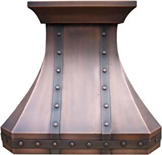 Traditional Copper Kitchen Oven Hood with Professional Range Hood Insert Antique Copper Classic Design Decorative Crown Straps and Rivets Handmade by Sinda H30STRC