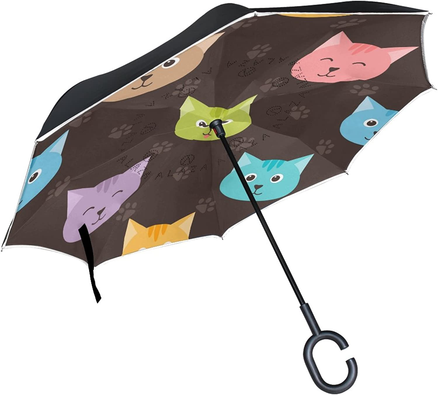 MASSIKOA Cartoon Cats And Footprints Ingreened Double Layer Straight Umbrellas Inside-Out Reversible Umbrella with C-Shaped Handle for Rain Sun Car Use
