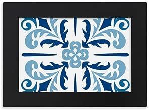cold master DIY lab Blue Morocco Decorative Flower Ilustration Desktop Photo Frame Black Picture Art Painting 7x9 inch Fits 10.2 x 15.2cm (4 x 6 inch) Photos Multicolor