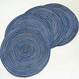 BJKKM Antideslizante Juego de manteles Redondos de 6 tapetes de Mesa Resistentes al Calor Cocina Lavable (Multicolor) Estera de Comida Occidental en casa (Color : 18cm Blue)