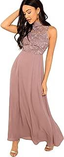 Verdusa Women's Elegant Sleeveless Contrast Lace Chiffon Flowy Maxi Long Dress