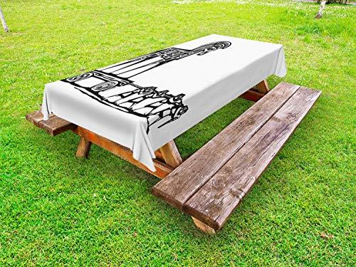 ABAKUHAUS Odyssee Tafelkleed voor Buitengebruik, Grieks Historisch Troy, Decoratief Wasbaar Tafelkleed voor Picknicktafel, 58 x 104 cm, Grijs en Witte Houtskool