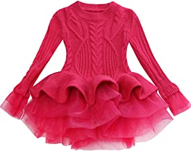 Kid Girl Sweater Dress Toddler Girls Birthday Party Princess Holiday Dress Winter Cute Knit Long Sleeved Clothes Tops
