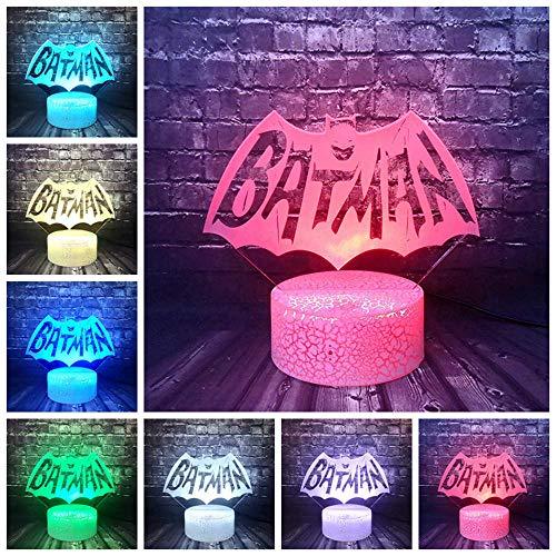 Veilleuse Batman Logo Pour Garçon Chambre Nuit Lumière Dessin Animé 3d Optique Led Décor Lampe De Table