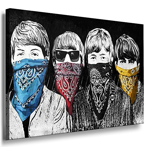Fotoleinwand24 - Banksy Graffiti Art Beatles / AA0091 / Bild auf Keilrahmen/Bunt / 100x70 cm