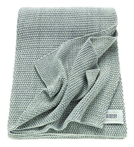 Schöner Wohnen Melange Plaid, Baumwolle, Grau, 170 x 130 cm