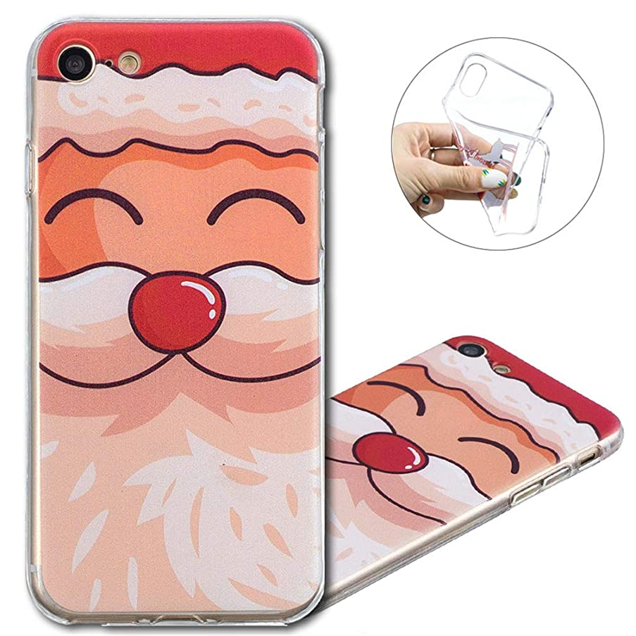 iPhone 8 Case, COTDINFORCA Merry Christmas Series Clear Soft Flexible Gel TPU Silicone Ultra-Thin Slim Fit Case Cover iPhone 7 / iPhone 8. Christmas TPU- Cute Santa Claus