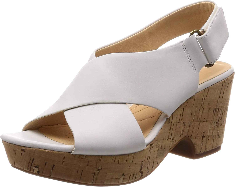 Clarks Maritsa Lara Sandals Woman Plateau Heel White Leather