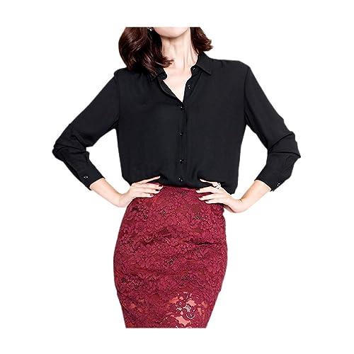 d77f31ecd8c17 ARJOSA Women s Chiffon Long Sleeve Button Down Casual Shirt Blouse Top