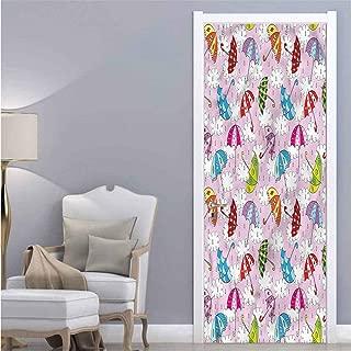 Homesonne Colorful,3D Door Sticker Umbrellas in Air Colorful Art Door Decals W38.5xH79