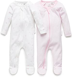 Purebaby 2 Pack Zip Growsuit