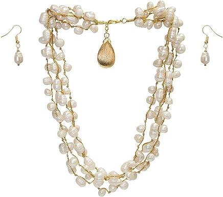 4f84c2dcec9e Collar Corto o Largo de 4 Hilos con Perlas Blancas Cultivadas con dije de  chapa de