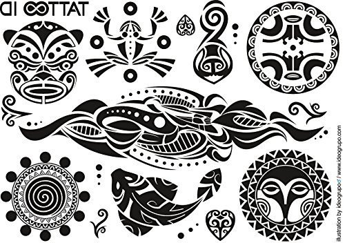 Tattoo ID - Tatuaggio temporaneo tribale stile Maori, anallergico, 2 fogli, realizzato in Francia, unisex