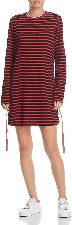 Derek Lam 10 Crosby Womens Striped Ruched TShirt Dress