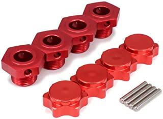 rchobbyhouse 4PCS M17 17mm Aluminum Capped Wheel Hex Hubs Adapter Anti-Dust Cover Nuts for HPI HSP Traxxas Himoto Axial Kyosho Redcat Tamiya 1/8 RC Car 94762 94081 (RED)
