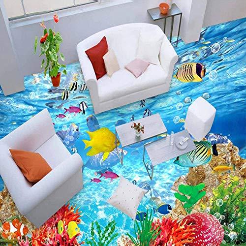 PVC autoadhesivo impermeable 3D baldosas papel tapiz moderno mundo submarino pintura mural pegatina baño Papel De Parede 3D-430 * 300cm