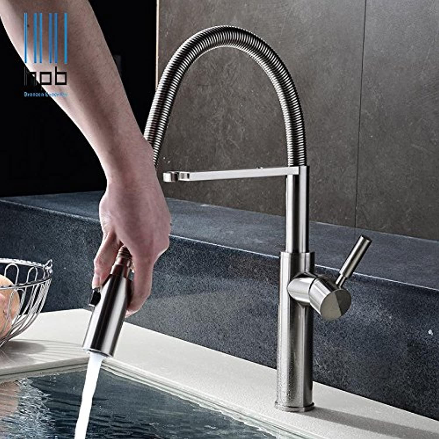 Tw All Copper Hot and Cold Spring Pulling Kitchen Faucet   Kitchen Sink Brushing Faucet (redary Type)