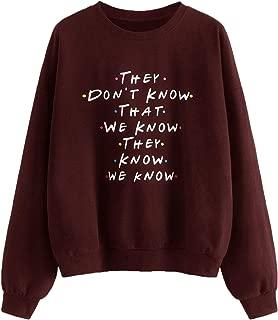 SweatyRocks Women's Causal Letter Print Crewneck Long Sleeve Sweatshirt Top